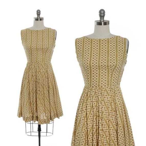 Calico floral dress | Vintage 50s yellow floral mi