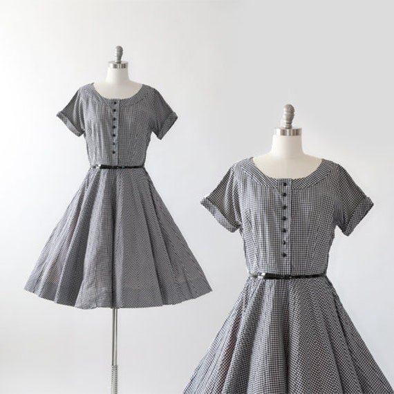 50s gingham dress | Vintage 50s black + white cott