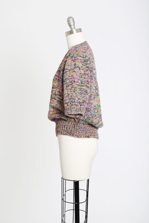 Rainbow V-neck sweater   Vintage 80s hand knit ra… - image 6