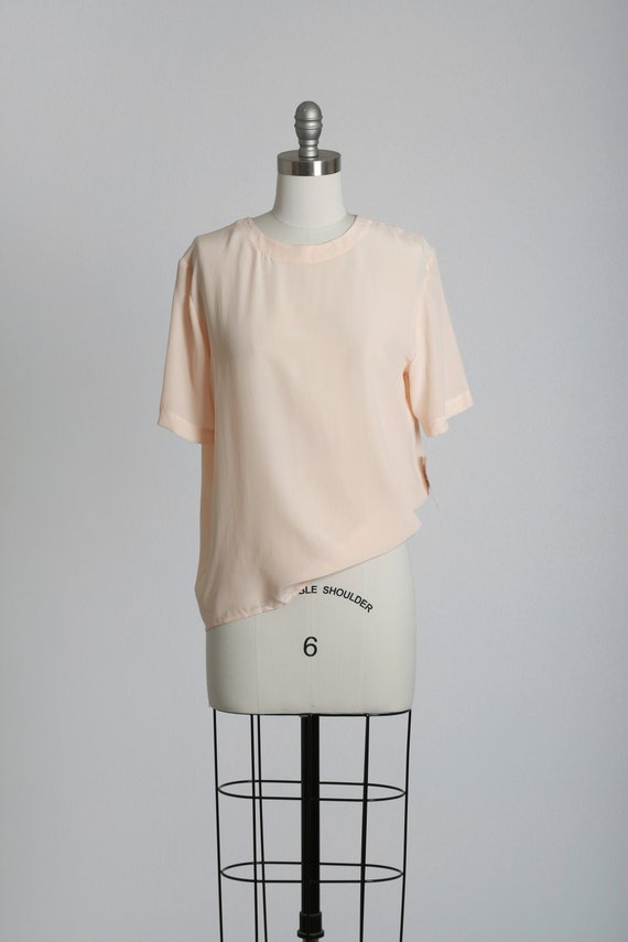 Pedal pink silk blouse   Vintage 90s NOS silk top