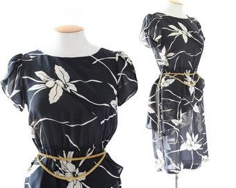 Black + White floral dress | Vintage 70s Hawaiian dress