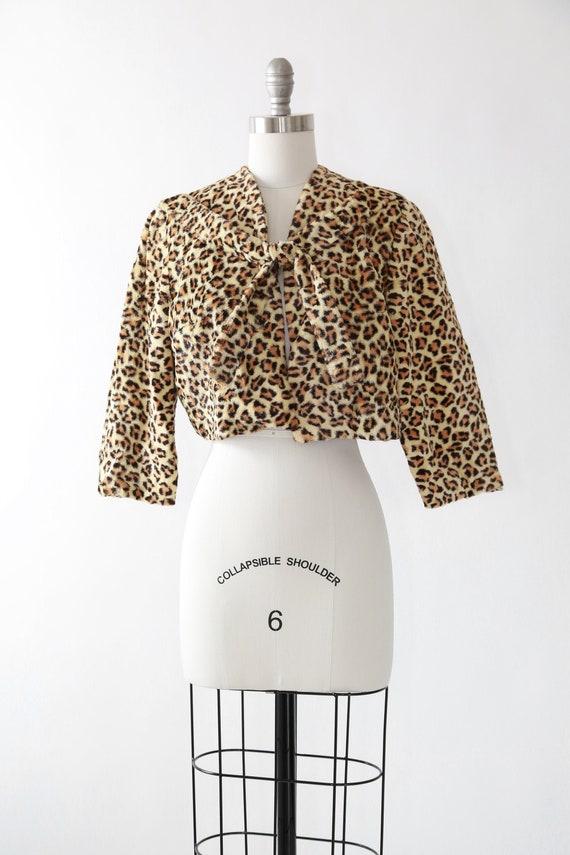 Leopard print bolero | Vintage 50s faux fur leopar