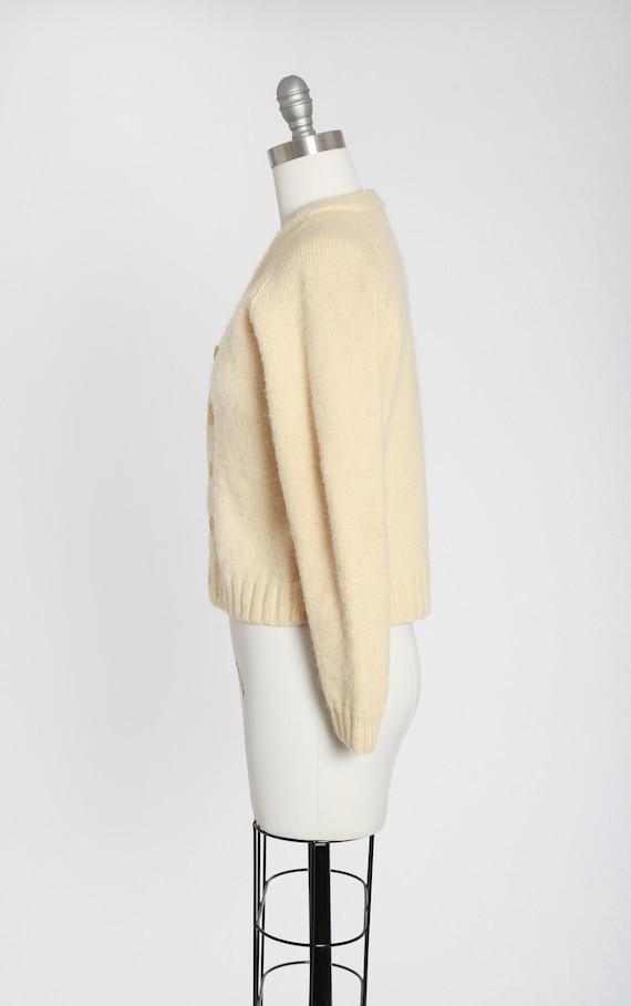 40s hand knit ivory wool cardigan - image 5