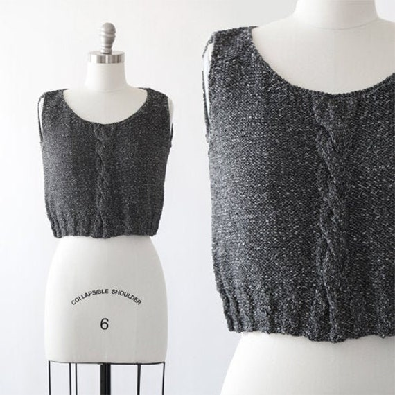Crochet Knit tank top | Vintage 90s cable knit cro