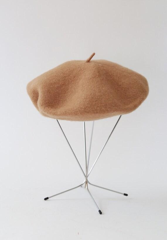Camel Beret hat | Vintage 90s brown wool beret - image 5