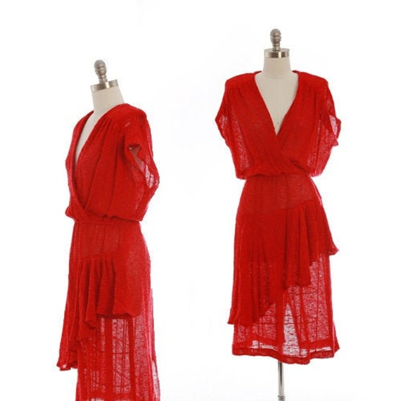 Crochet salsa dress | Vintage 70s red crochet knit