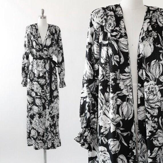 Mary McFadden dress | vintage 80s floral wrap dres