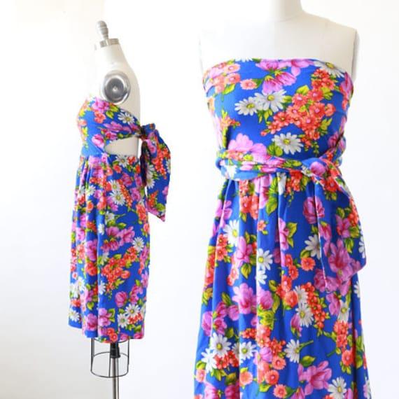 Vintage 70s topical floral Hawaiian barkcloth mini