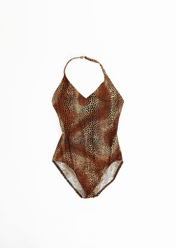 90s Catalina leopard print one-piece swimsuit