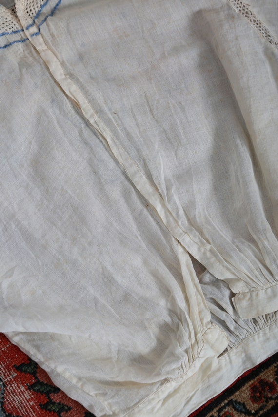 Antique 1900s Edwardian hand embroidered blue scr… - image 7