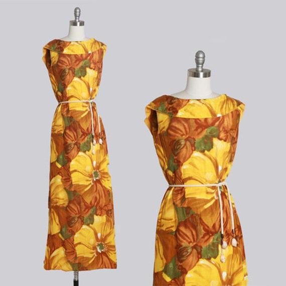 60s tropical floral dress | Vintage 1960s tropical