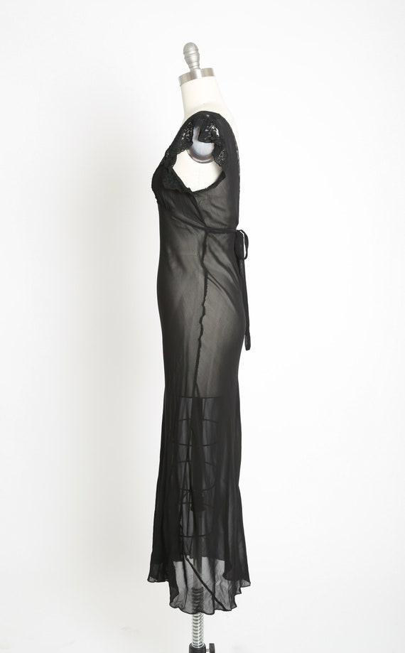 Bias cut slip dress | Vintage 40s black silk lace… - image 6