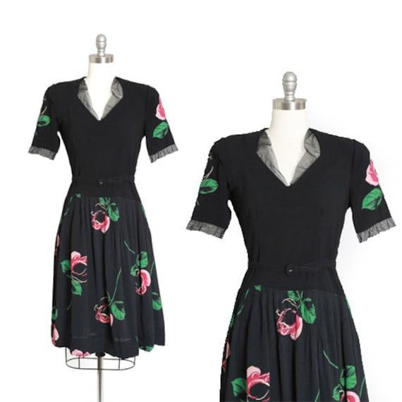 40s rose dress | Vintage 40s black floral Appliqué