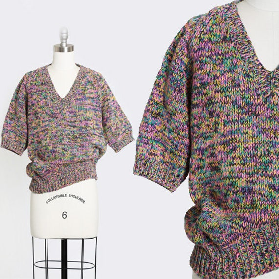 Rainbow V-neck sweater | Vintage 80s hand knit rai