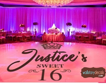 dac1c605798 Sweet 16 Dance Floor Decal - Personalized Custom Name with Crown scrolls -  Small Medium Large Reception Decals Princess Party Decor