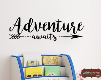 Wall Quotes - Adventure Awaits Lettering with arrow- Children's Playroom or Nursery Wall Decal -  Large sizes 39+ Colors