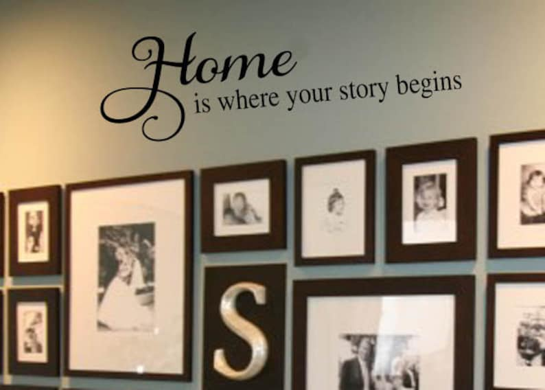 Entryway Vinyl Lettering 39 Family Vinyl Wall Decal HOME where your story begins Colors