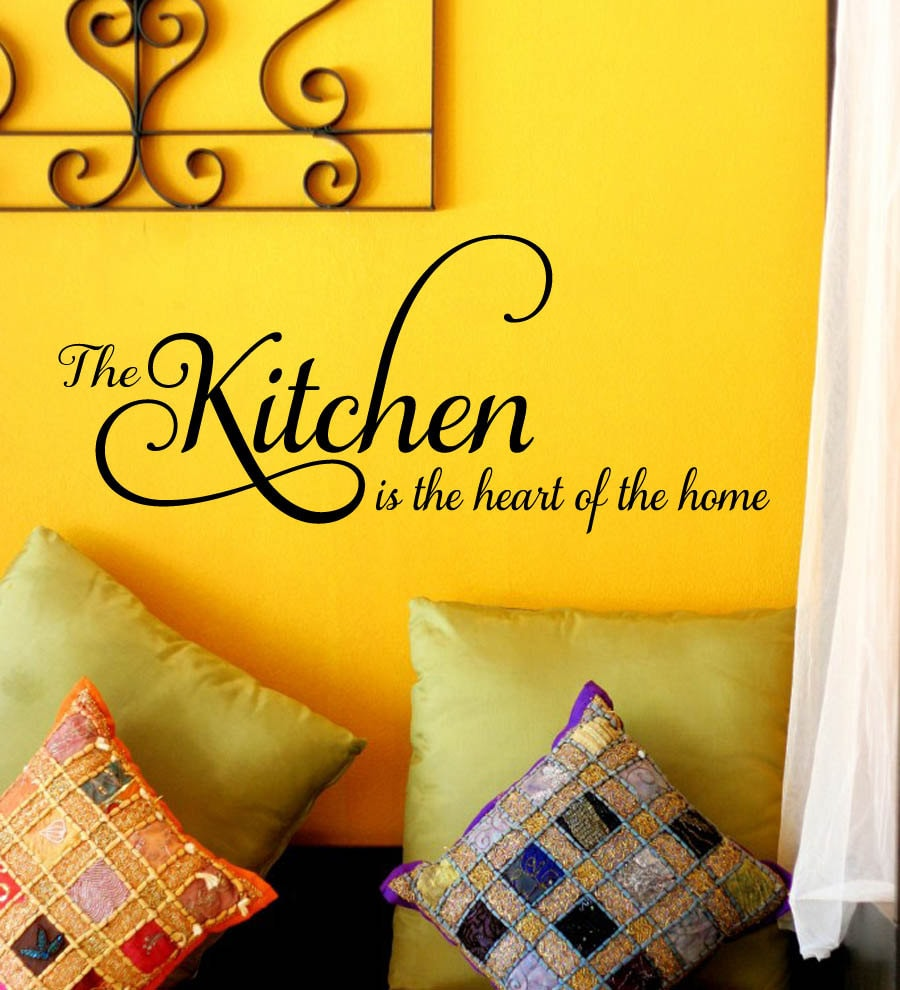 the Kitchen is the Heart of the Home Family Vinyl Wall Decal - Wall ...