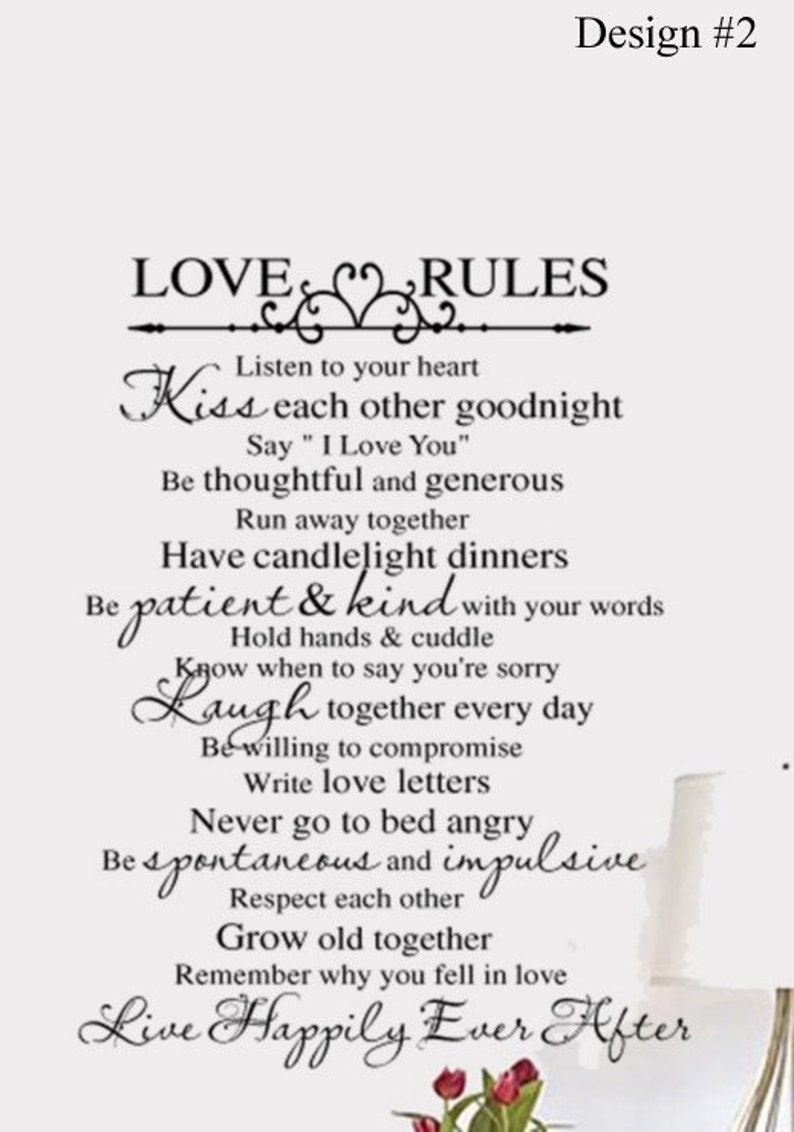 Love Rules Vinyl Wall Lettering Bedroom Decal Large Etsy