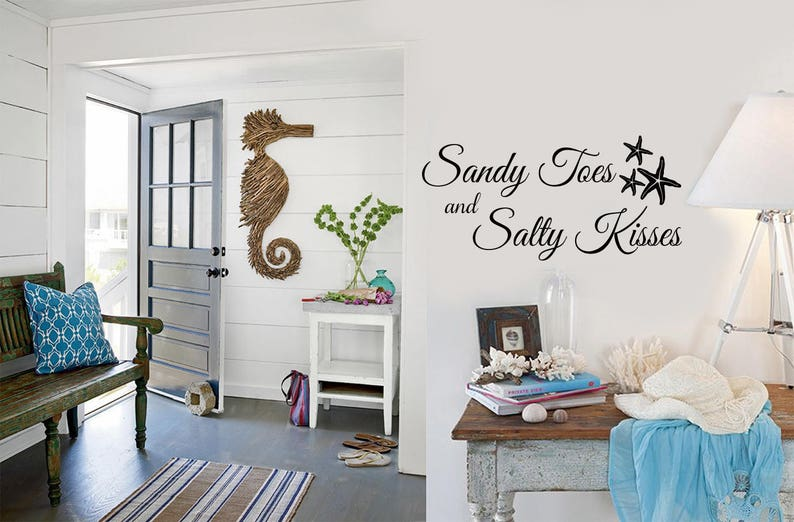 Sandy Toes and Salty Kisses Beach House Wall Decals Wall Decal Home Decor Starfish Water Ocean Nautical Beach Sign Wall Art Decal
