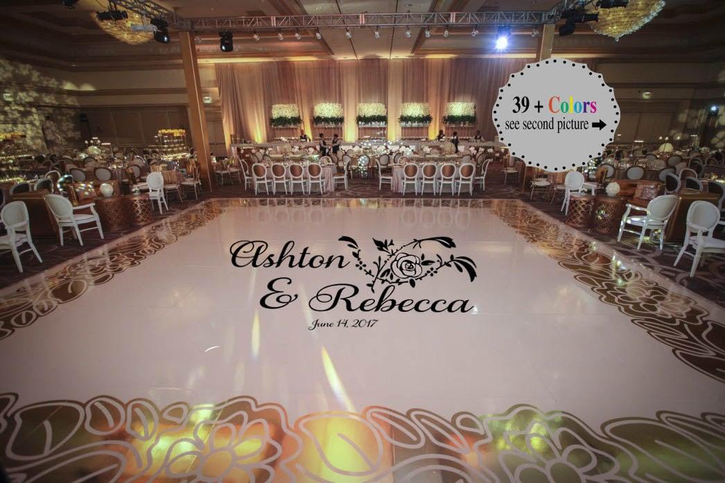 Huge Rose Theme Dance Floor Decal Wedding Day Fancy Etsy
