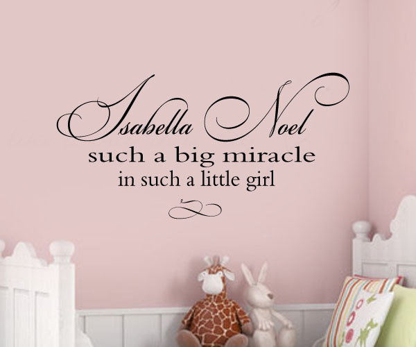 Such A Big Miracle In Such A Little Girl Nursery Custom Name Vinyl Monogram Decal Lettering Personalized Nursery Childs Wall Decals Large