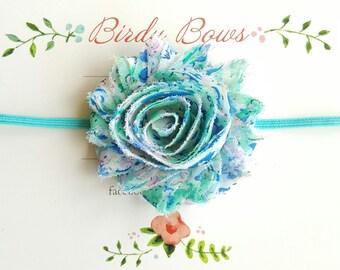Aqua Floral Headband, Baby Headbands, Infant Headbands, Baby Bows, Baby Girl Headbands, Infant Bows, Newborn Headbands