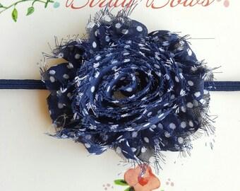 Navy Polka Dot Headband, Baby Headbands, Infant Headbands, Baby Bows, Baby Girl Headbands, Infant Bows, Newborn Headbands