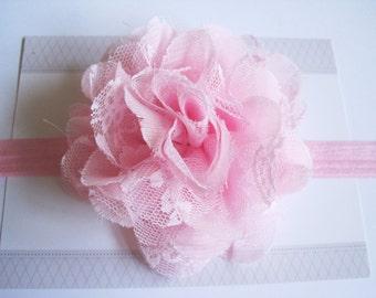 Pink Chiffon Lace Flower Headband, Baby Headbands, Newborn Headbands, Infant Headbands, Baby Girl Bow, Infant Hair Bow,