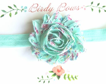 Light Aqua Floral Headband, Baby Headbands, Infant Headbands, Baby Bows, Baby Girl Headbands, Infant Bows, Newborn Headbands