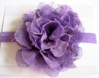 Purple Lace Chiffon Baby Headband, Infant Headbands, Baby Girl Headbands, Infant Bows, Baby Bows, Newborn Headbands