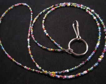 32 Color Beaded Id Badge Lanyard, SELECT YOUR SIZE, Lightweight Lanyard, Seed Bead Lanyard, Id Card Lanyard, Id Badge Holder