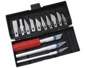 Hobby Knife Razor Blade Set Kit w Case Cutter Tool Exacto Precision Cutting