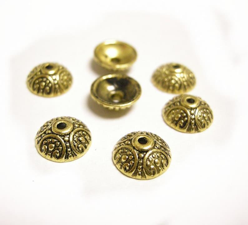 12pc antique bronze finish 15mm metal bead caps-8031