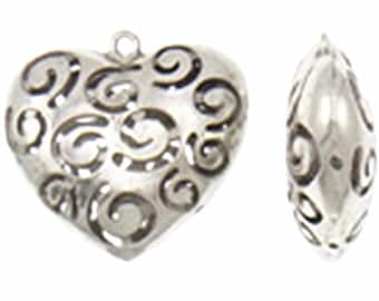 2pc 48x47x17mm antique silver finish heart pendant-8548H