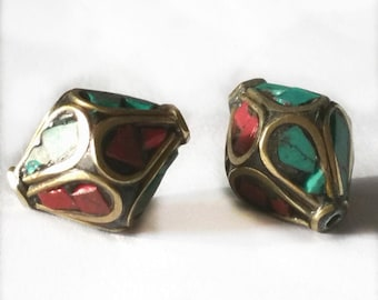 2 pieces 16x12mm Tibetan Brass Bead with Turquoise and Coral Inlay - OFF66