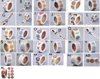 """500pcs  1 roll of Various Pattern  Adhesive 1"""" stickers-pls pick a pattern"""