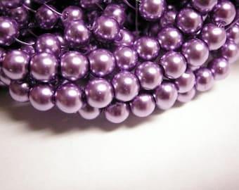30pc 8mm purple glass pearl round beads-3114