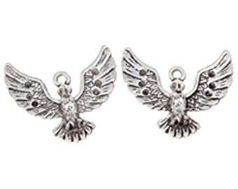4pc 28x24mm antique silver finish bird pendant-4802g