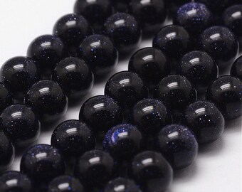 15 Inch Strand Of Blue Goldstone Beads 8mm (49 Beads)-8198A