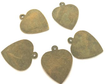 30PC 23x19mm antique bronze finish heart charms-7694d