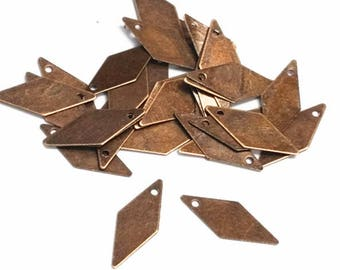 100pc 18x10mm antique copper finish rhombus iron pendant-8686G