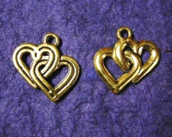6pc antique gold finish lead free metal heart pendants-1830