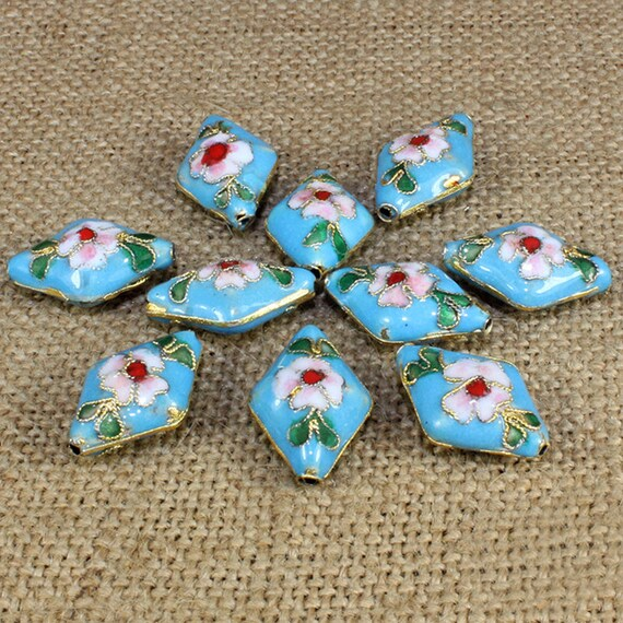2pc 20x14 Rhombus handmade Cloisonne Beads-pls pick a color