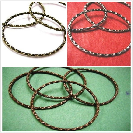 4pc 44mm antique copper finish textured metal ring-3563