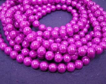 50pc 8mm glass pearl round beads-1010I-FUSHIA