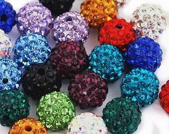 12pc mix color 8mm Rhinestone Crystal Clay Pave Disco Beads- AAA QUALITY-7764