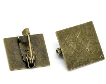 6pc 15mm Antique Bronze Square Cabochon Setting Brooch settings-7941