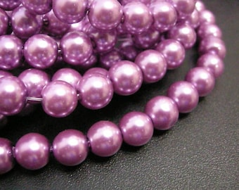30pc 8mm glass pearl round beads-6666