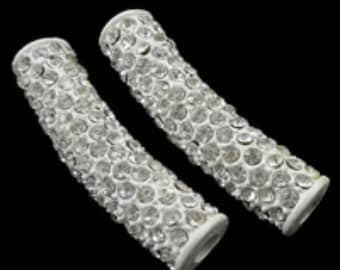1pc fashion tube rhinestone pave beads for jewelry making brass tube-4818c